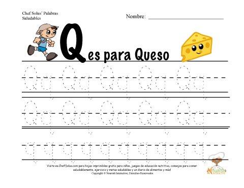 Alfabetos con el Tema de Nutrición y Ejercicio - Letra Q