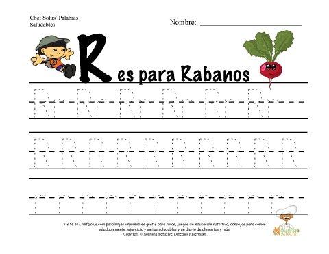 Alfabetos con el Tema de Nutrición y Ejercicio - Letra R