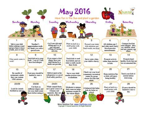 May Plant a Garden Month Kids Colorful Calendar