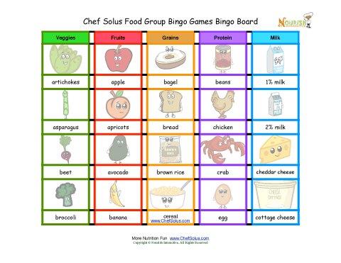 Chef Solus Bingo Food Groups Game - Bingo Board