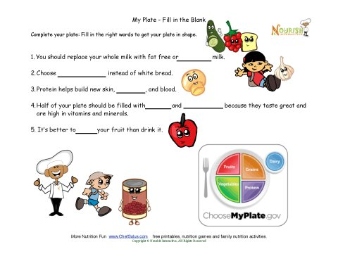 Printables My Plate Worksheets my plate healthy tips for kids fill in the blank worksheet