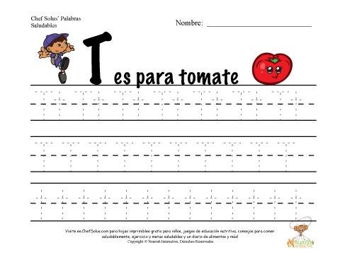 Alfabetos con el Tema de Nutrición y Ejercicio - Letra T
