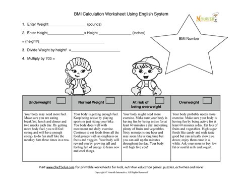 Bmi Kids Calculation Worksheet For Nurses And Dietitians Using The English Apothecary System