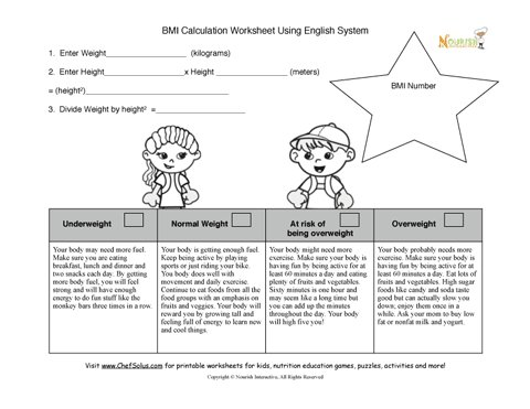 BMI Kids Calculation Worksheet For Nurses And Dietitians Using the ...