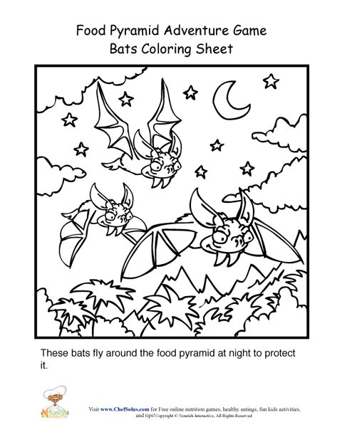 Food Pyramid Adventure Game Bats Coloring Page