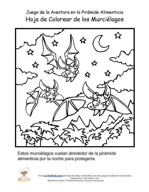 Página Para Colorear de los Murciélagos del Juego de la Aventura de ...
