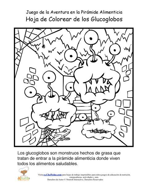 Página Para Colorear de los Glucoglobos del Juego de la Aventura de ...