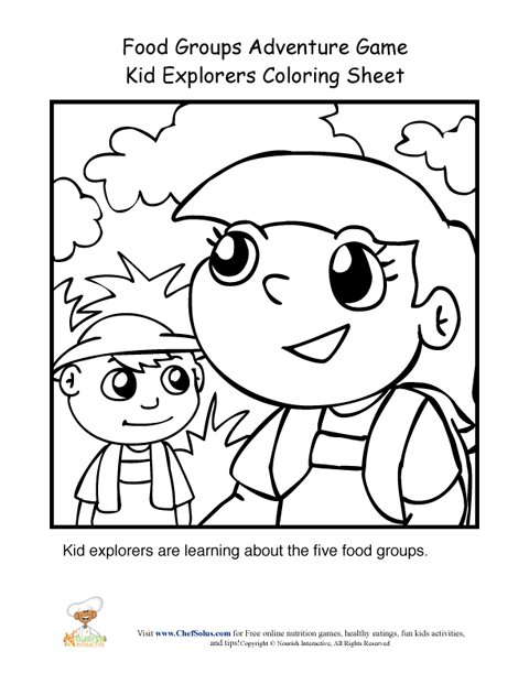 Food Groups Adventure Game Kid Explorers Coloring Page