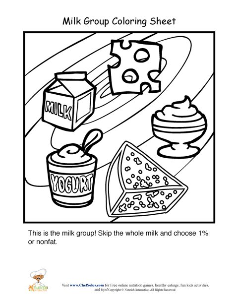 dairy food group coloring sheet - Colour In Sheet