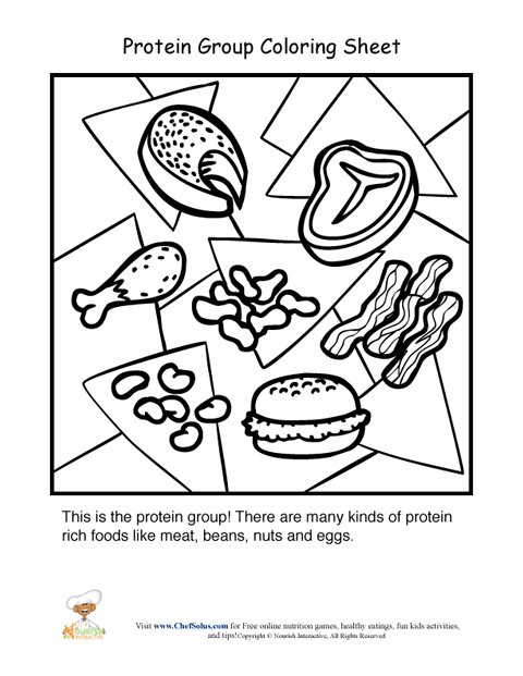protein food group coloring sheet - Nutrition Coloring Pages Kids