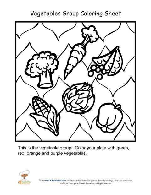 Vegetables Food Group Coloring Sheet