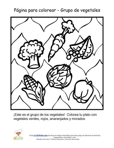 Hoja Para Colorear del Grupo Alimenticio de Los Vegetales
