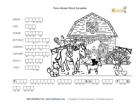 Farm Animal Word Double Scramble Activity Page For Kids
