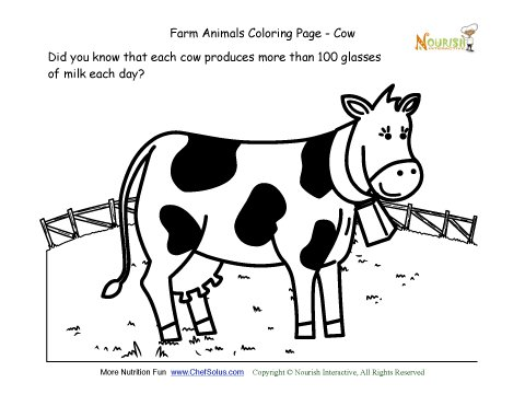 Farm Animals Coloring And Fun Fact Page Learn About The Cow