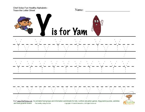 Common Worksheets letter y worksheets : Fitness and Nutrition Themed Alphabets - Letter Y