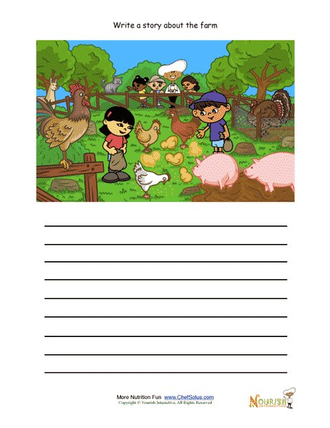 Creative Writing Activity For Elementary School Children - Farm Animals  Being Fed