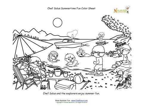 Chef Solus Summertime Fun Coloring Sheet Watersports At