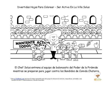 Hoja Para Colorear del Chef Solus De Moverse y Ser Activos