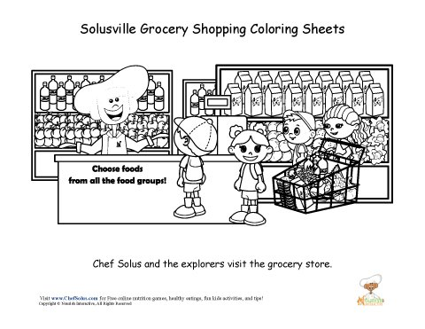 Chef Solus Grocery Store Fun Coloring Sheet