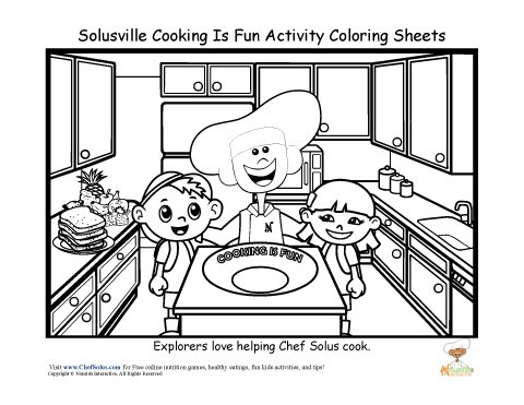 Chef Solus Fun Kitchen Cooking Coloring Sheet