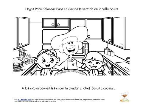 Hoja Para Colorear del Chef Solus De Diversión en la Cocina