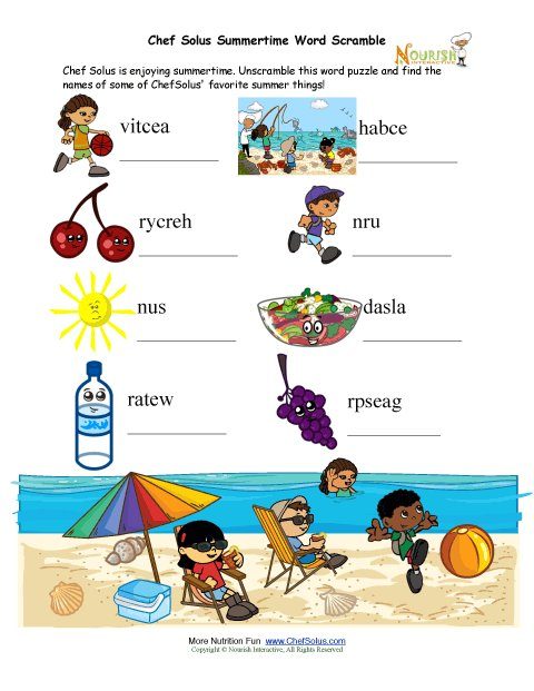 Fun Kids Summertime Word Scramble Puzzle page