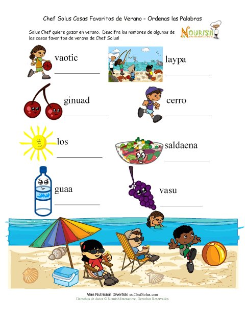 Página de Sopa de Letras del Verano Para Niños