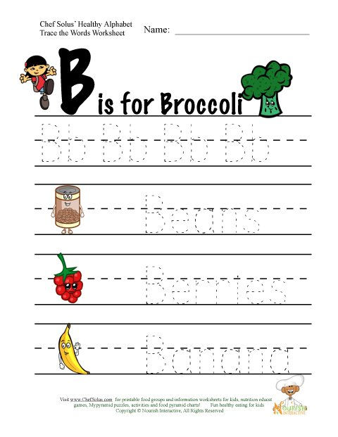 Fitness And Nutrition Alphabet Words Using Letter B