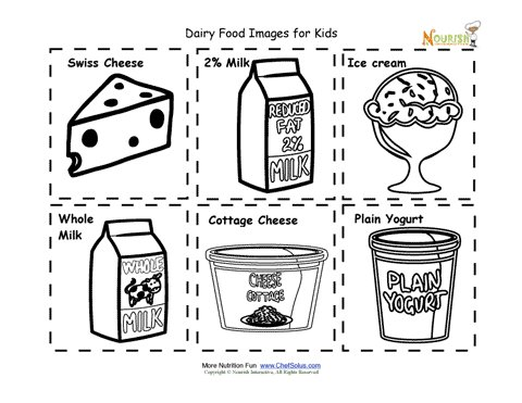 picture regarding Printables Food called Dairy Foodstuff Vitamins Flash Playing cards Reduce Out Printable for Little ones
