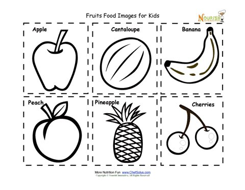 photo about Printable Fruit Pictures titled Fruit Food stuff Vitamins and minerals Flash Playing cards Reduce Out Printable for Little ones