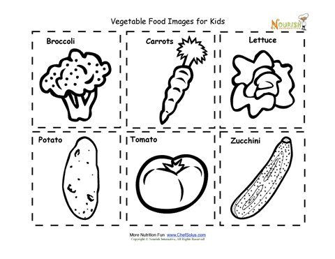 Vegetable Food Nutrition Flash Cards Cut Out Printable for