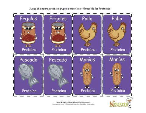 Juego De Cartas Para Ninos De Emparejar Proteinas Juego Imprimible