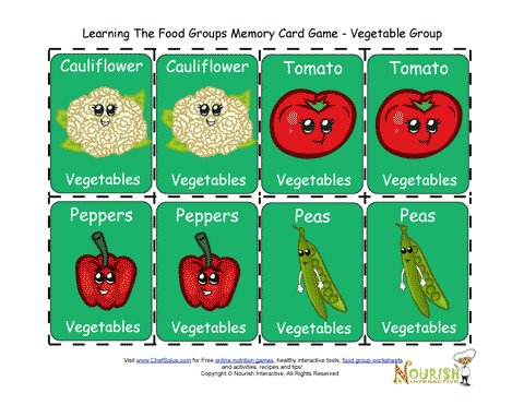 Kids Matching Vegetables Card Game - Printable Game for Children