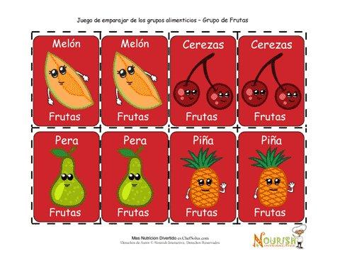 Juego De Cartas Para Ninos De Emparejar Frutas Juego Imprimible