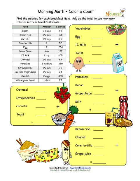 Worksheets Nutrition For Kids Worksheets calorie count math worksheet for elementary school children breakfast time