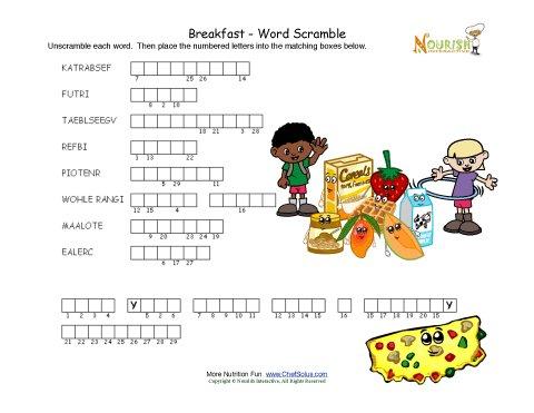 Breakfast Works Scramble Puzzle Activity For Children