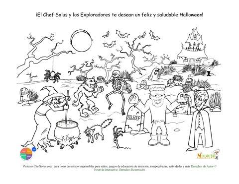Página Para Colorear de Halloween Para Niños con Escena de ...