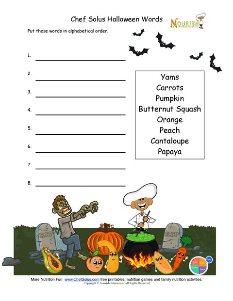 Halloween Fun Alphabetize Activity For Kids Learning To Read and Write