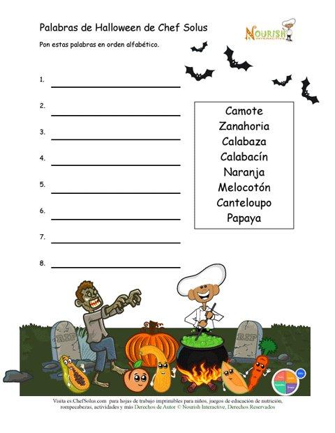 Divertida Actividad de Orden Alfabético Para Halloween Para Niños ...