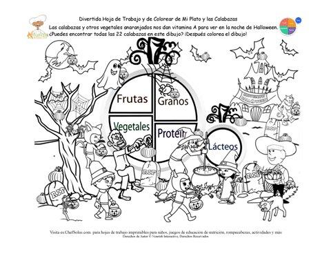Días Festivos 10 Busca los Alimentos de Calabazas Escondidos - Hoja ...