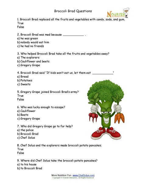 Broccoli Brad Multiple Choice Worksheet For Elementary School Children