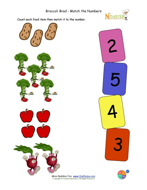 Broccoli Brad Preschool Math Matching Number Of Foods Activity For ...