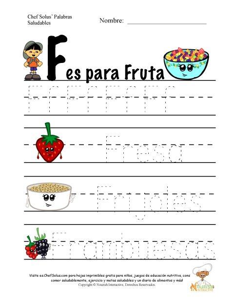 Palabras de Nutrición y Ejercicio Usando la Letra F del Alfabeto