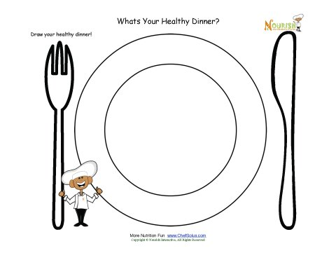 700 Kids Healthy Dinner Fun Nutrition Worksheet Draw Activity