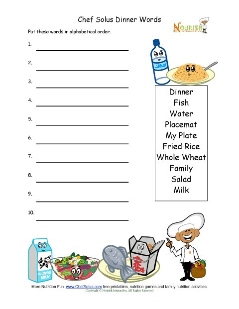 picture regarding My Plate Printable Placemat titled Healthful Meal Words and phrases Alphabetize Recreation for Youthful Writers