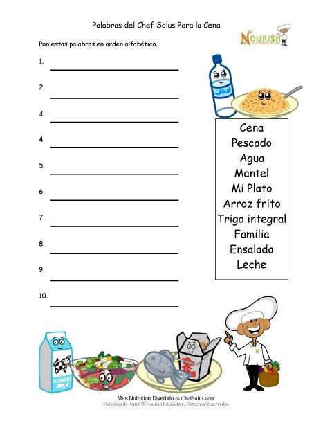 Actividad Para Escritores Jóvenes De Poner Palabras De La Cena Saludable En Orden Alfabético