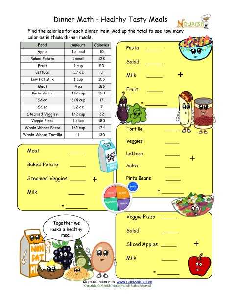 math worksheet : calorie count math worksheet for elementary school children  : Free Printable Menu Math Worksheets
