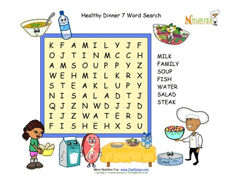 Dinner Fun 7-Word Search Puzzle for Children