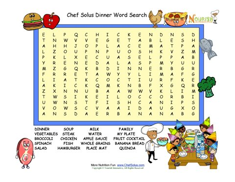 Dinner Fun 15 Word Search Puzzle For Children