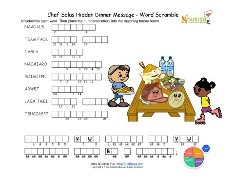 Dinner Word Scramble Puzzle Activity For Children